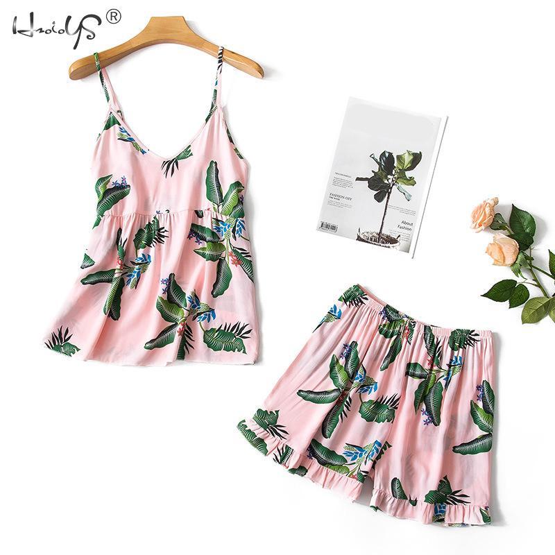 Leaf Print Pajamas For Women Floral Womens Pajama Set Summer 2019 Pyjamas Women Sexy Sleepwear V-Neck Pijama Mujer 2 Piece Sets