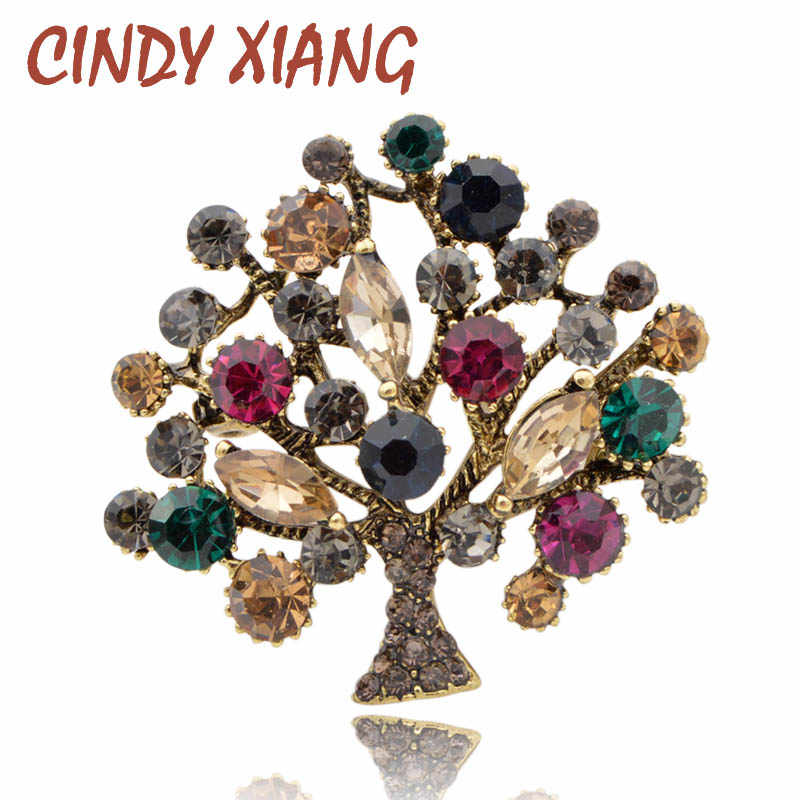 CINDY XIANG Colorful Rhinestone Tree Brooches for Women 2 Colors Available Fashion Vintage Elegant Brooch Pin Coat Jewelry Gift