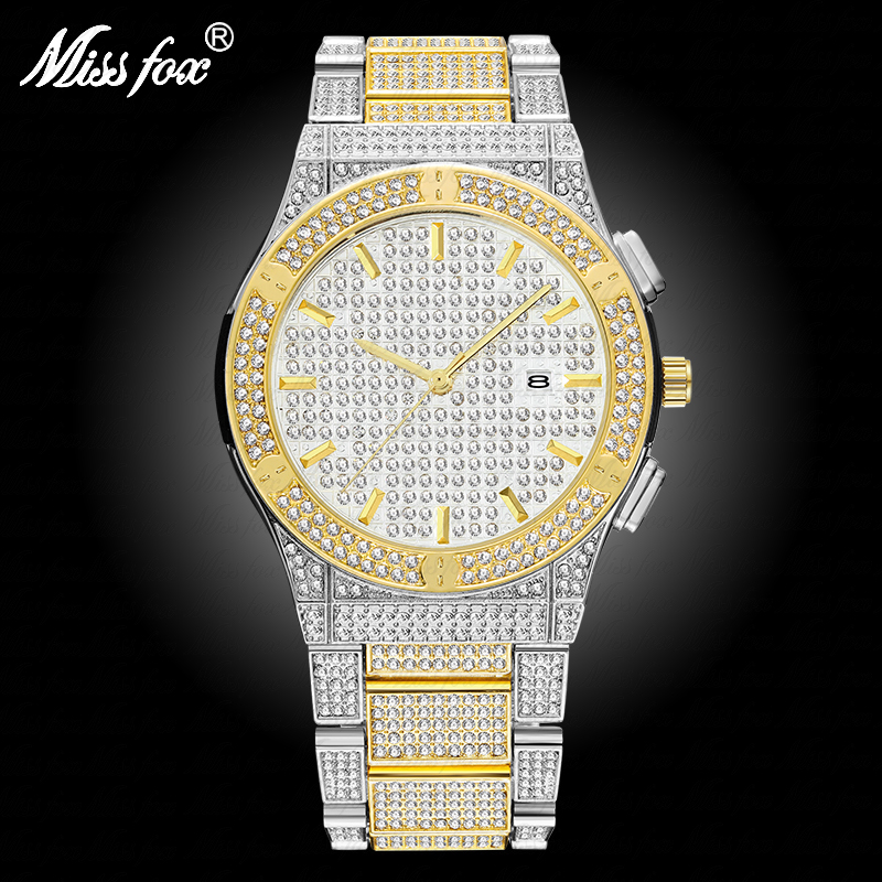 MISSFOX Gold Watch Analog Full-Diamond Mens Calendar Silver Water-Resistant Top-Brand