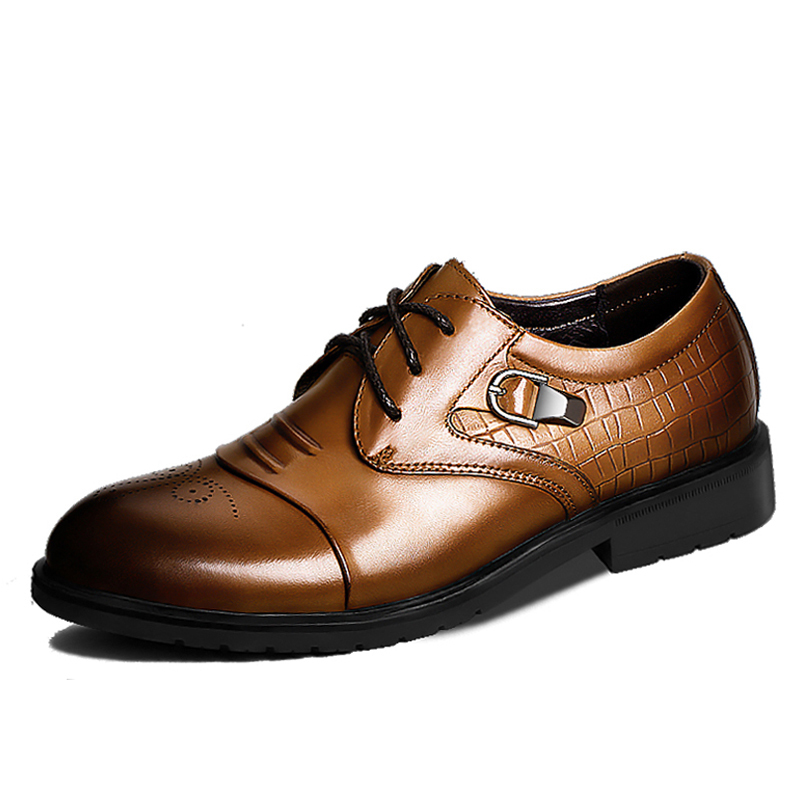 ФОТО AILONGKA Brand New Men Flats Genuine Leather Oxfords Men's Dress Shoes 2017 Formal Shoes Slip on Man Leather Shoes Size 38-43