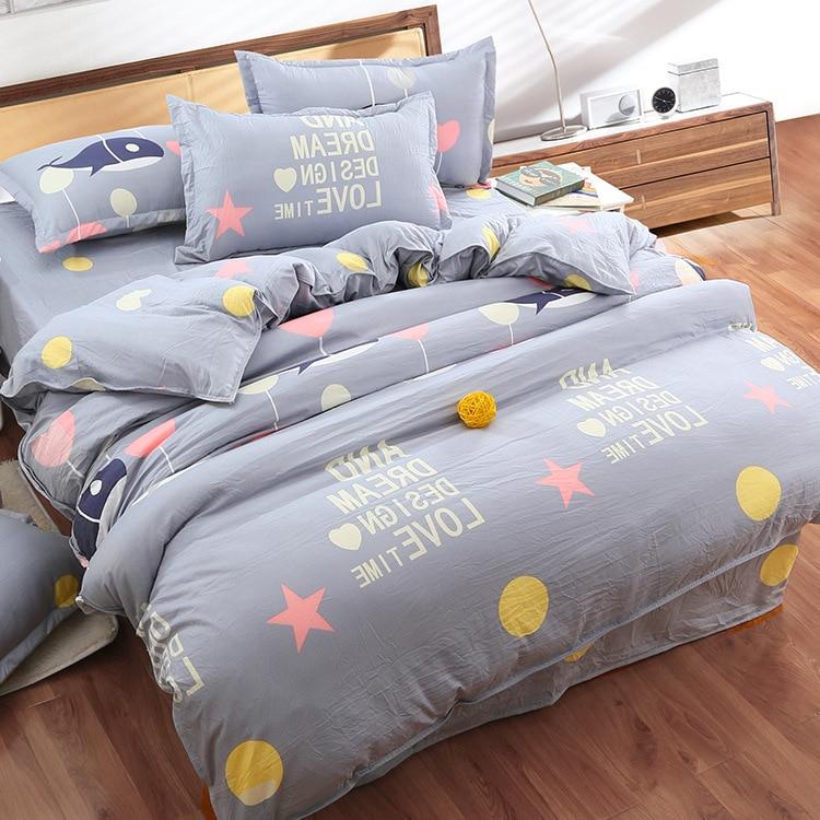 Cotton Nature Life Flowers Printed Bedding Set 4pcs Queen Size Bedsheet Pillowcase Duvet Cover Bed Set Quilt Bedlinen