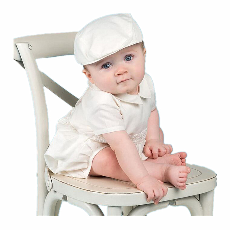 BBWOWLIN Newborn Baby Boys Clothes Set Christening Thanksgiving Outfit Baby Boy White Rompers with Cap Christmas Clothes 013 недорого