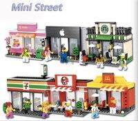 Città di Serie Mini Street Modello Negozio del Deposito mini bambole di Apple legoings Negozio s 'McDonald Compatibili Blocchi di regalo per i bambini
