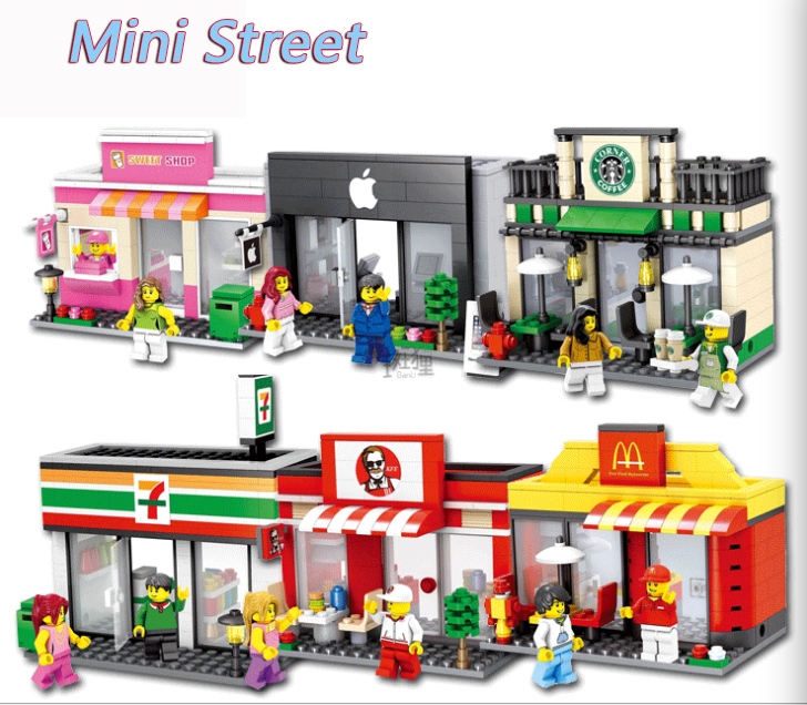 City Series Mini Street Model Store Shop mini dolls Apple legoings Store McDonald`s Building Blocks Compatible gift for children