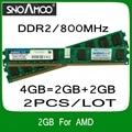 Оптовая продажа 2 ШТ./ЛОТ Бренд РАМС DDR2 4 ГБ = 2 ГБ + 2 ГБ 800 МГц PC2-6400 Совместимость с 667 МГц 533 МГц DIMM Памяти Для Настольных ПК Для AMD