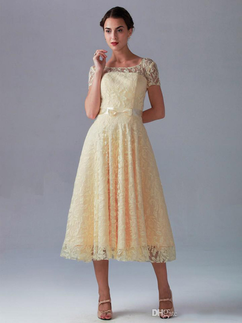 2015 Cheap Bridesmaid Dresses Under 100 Short Sleeves A Line Yellow Lace Wedding Party Prom Dress Ribbon Sashes Festa In From Weddings