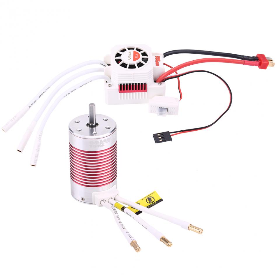 High Intense Alloy Shell Motor & Controller Set 4 Poles 3665 3100KV Motor + 60A Electronic Speed Controller For 1/10 RC Car tiger motor t motor 60a 2 6s brushless motor electronic speed controller for multicopter