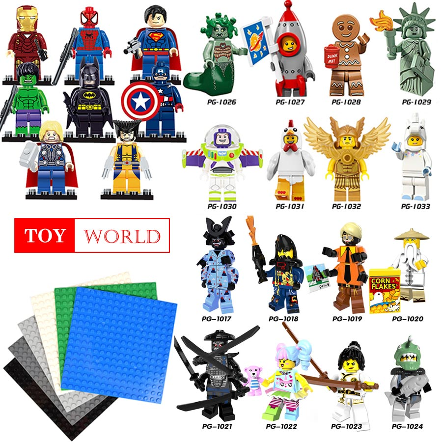 1pcs Super Heroes Captain America iron man gingerbreads Man Building Blocks Compatible With LegoINGly Batman toys children gifts