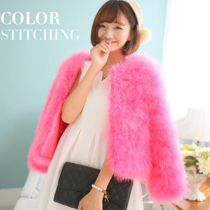 lady genuine real fashion short turkey fur jacket for women female natural fur coat Ostich fur