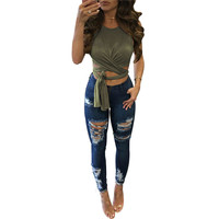 2017 Summer Sexy Lace Up Crop Tops Women Casual Bandage Cropped Top Elegant Slim Short Style