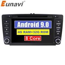 """Eunavi Octa core 2 din 8 """"Android 9.0 4G di RAM Lettore DVD Dell'automobile Per Skoda Octavia 2014 2015 a7 GPS Radio Multimediale di Navigazione DAB +"""