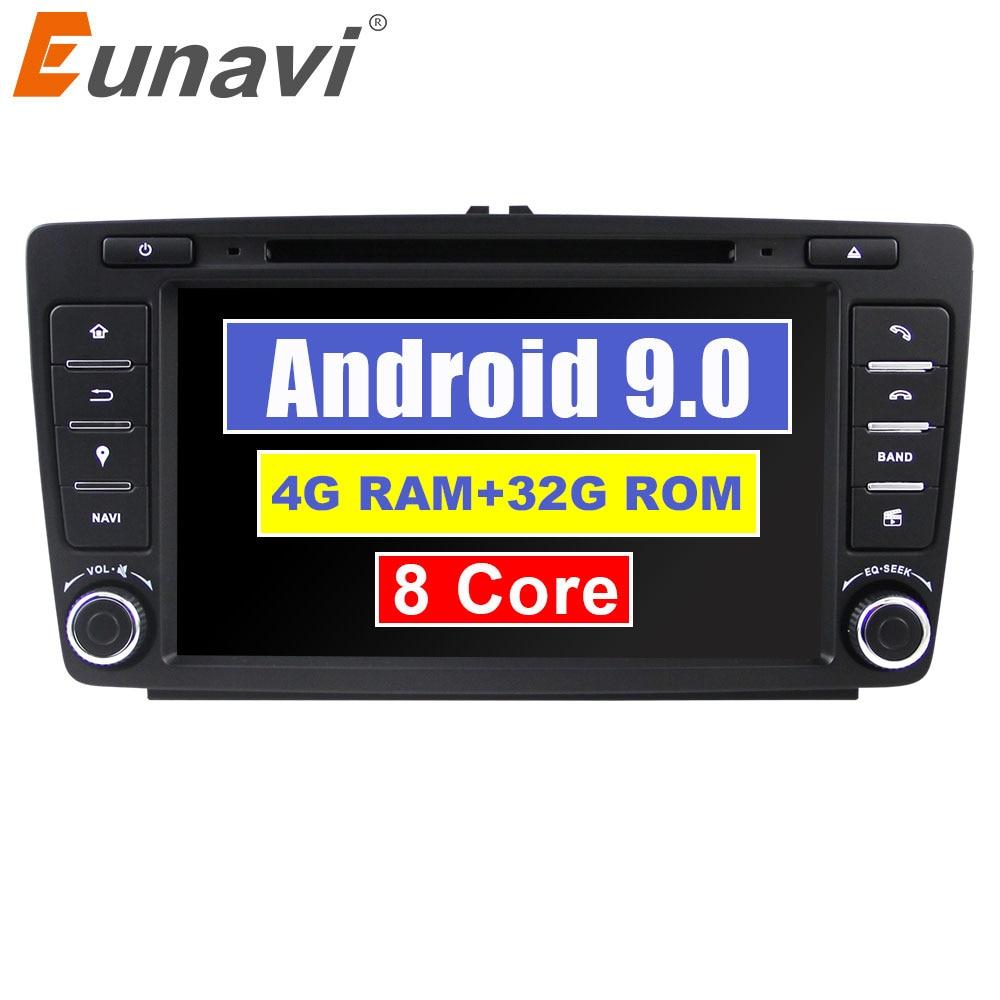 Eunavi Octa core 2 din 8 ''Android 9.0 4G RAM lecteur DVD de voiture pour Skoda Octavia 2014 2015 A7 GPS Navigation Radio multimédia DAB +