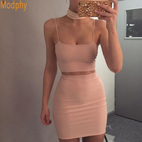 2017 New Sexy Women Summer Party Bandage Dresses 2 Two Pieces Set Halter Sleeveless Celebrity Bodycon