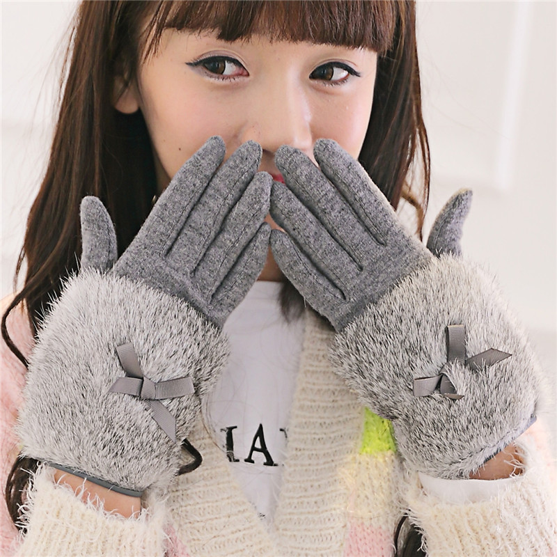 Autumn Winter Ladies Cashmere Gloves Female Bow Tie Rabbit Fs