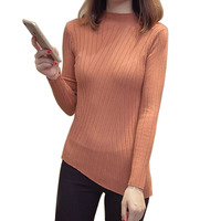 Half Turtleneck Warm Women Sweater Autumn New Knitted Femme Pull High Elasticity Soft Female Pullovers Sweater Asymmetrical