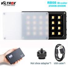 Viltrox RB08 البسيطة LED الفيديو الضوئي المحمولة ملء ضوء ثنائية اللون 2500 8500K المدمج في بطارية للهاتف كاميرا اطلاق النار استوديو Vlog