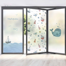 Cartoon dolphins Custom size electrostatic frosted stained glass window films home sailing door stickers PVC self-adhesive ship