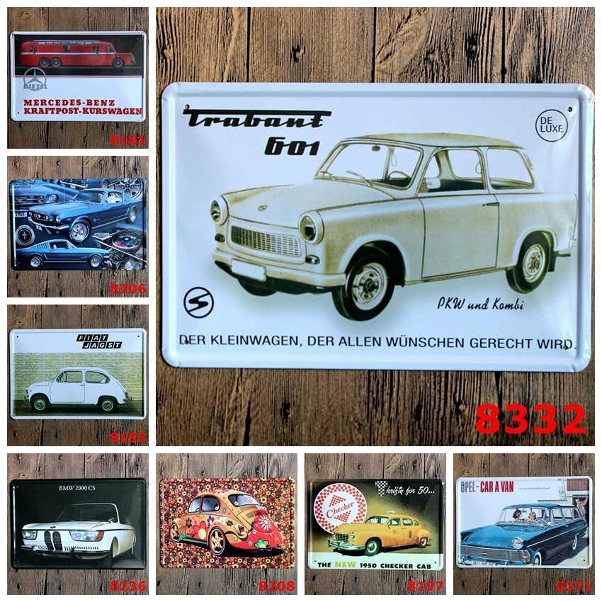 Klasyczne samochody znak Logo tablica Vintage Metal malarstwo naklejki ścienne żelaza znak pokładzie płytki dekoracyjne plakat hurtownie 20X30 CM