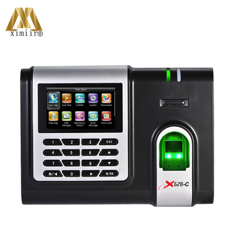 New Technology Fingerprint Time Attendance System Black And White Display X628-C Color Screen Time Recorder