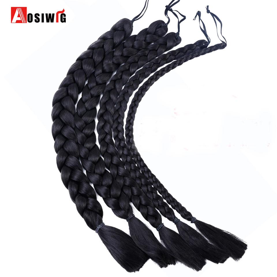 Hair Extensions & Wigs Black Synthetic Jumbo Braids Braiding Hair High Temperature Fiber For Film And Cospaly Costume Cosplay Ponytails Aosiwig