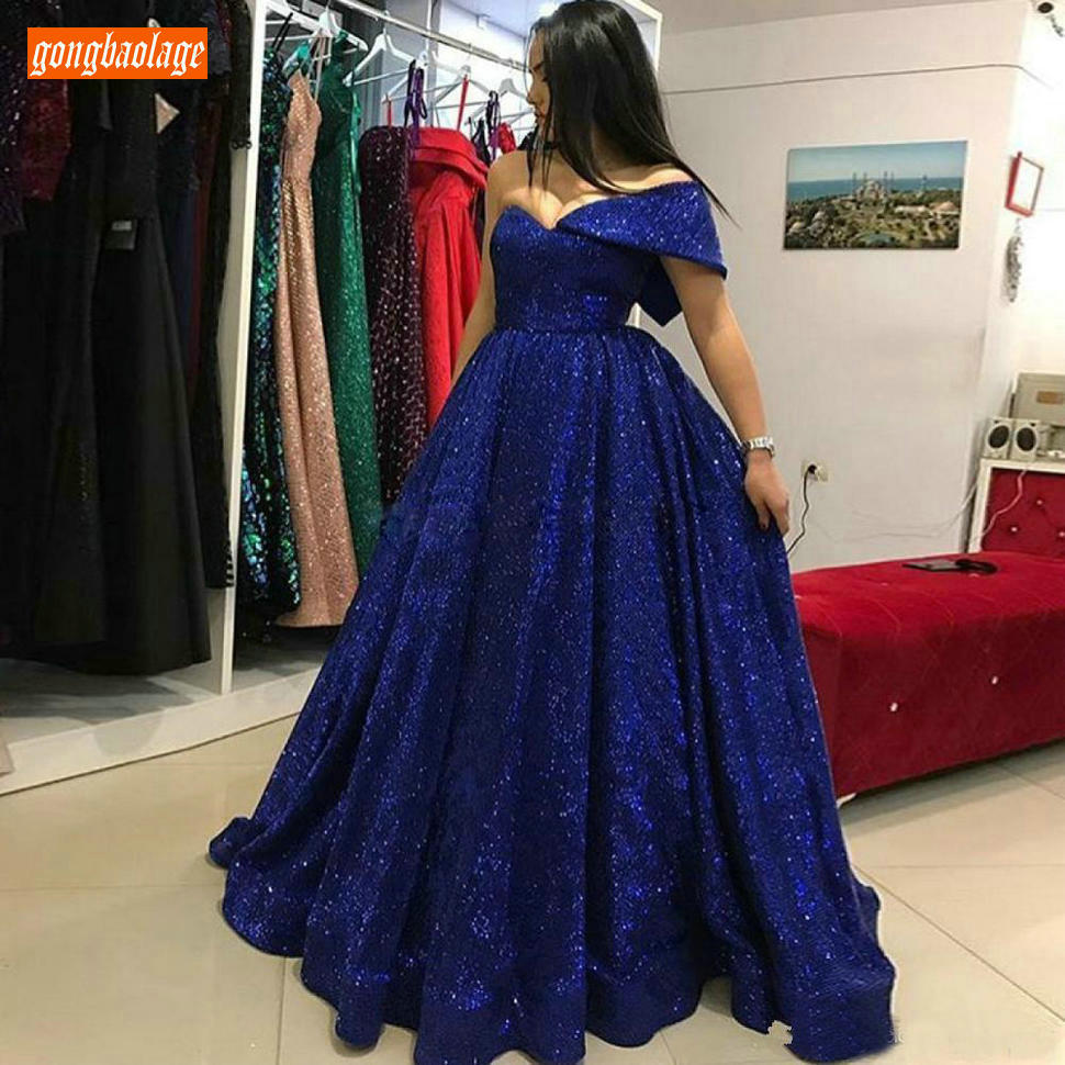 Luxury Dark Royal Blue   Evening   Gowns Off Shoulder Bling Bling A Line   Evening     Dresses   Floor Length Formal Party   Dress   Custom Made