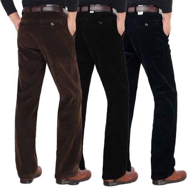 Hombres de Negocios Casual Encuadre de cuerpo entero Pantalones de lana de Invierno de Pana Pantalones Rectos Gruesos Hombres Trabajan Desgaste más tamaño Pantalones 101402