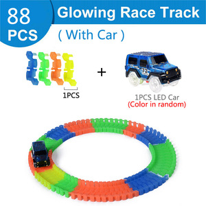 Image 5 - 88 648pcs DIY Assembly Electric Race Track Magic Rail Car Toys for Children Flexible Flash in the Dark Glowing Racing Track Car