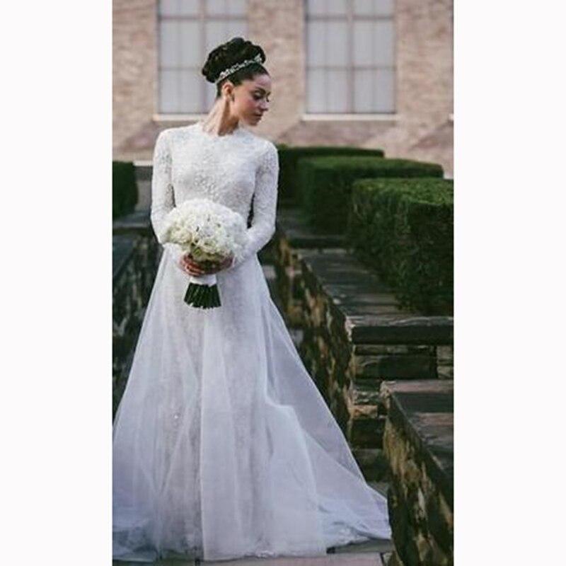 top quality 2017 lace wedding dress long