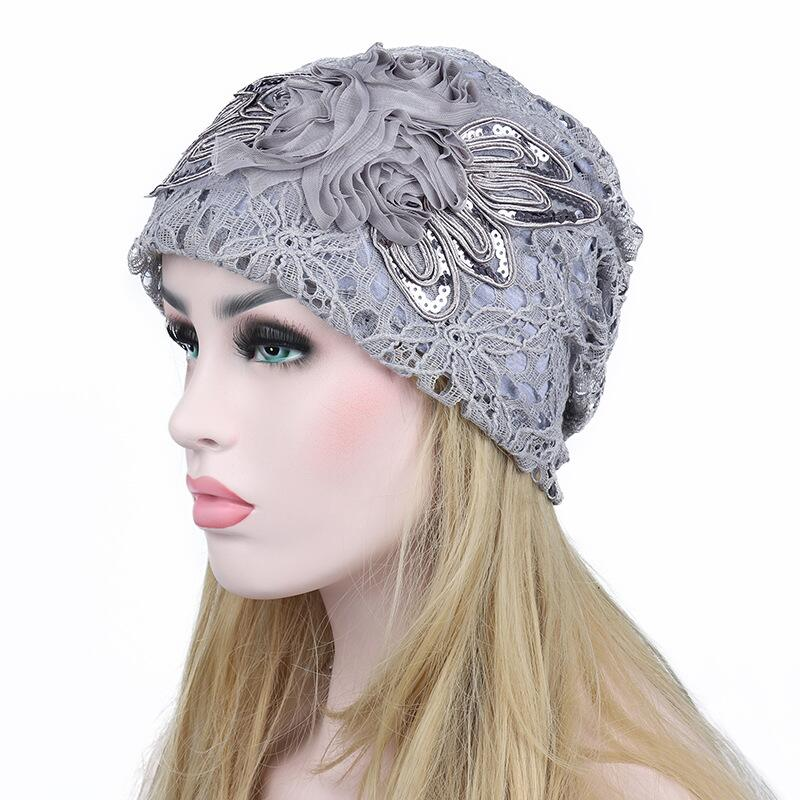 fc8c7bc3d3b Floral Butterfly Pattern Lace Double Layer Winter autumn Women Knitted  Skuilles Beanies Hat Cotton Beanie Cap Hats For Ladies