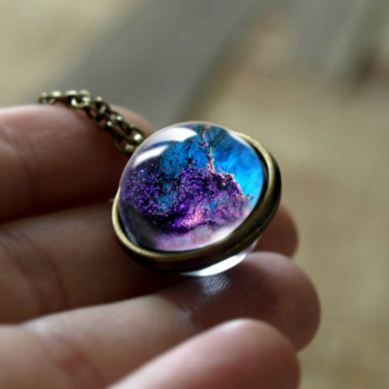 Galaxy Double Sided Pendant Necklace Jewelry Necklaces Women Jewelry Metal Color: LGS0034