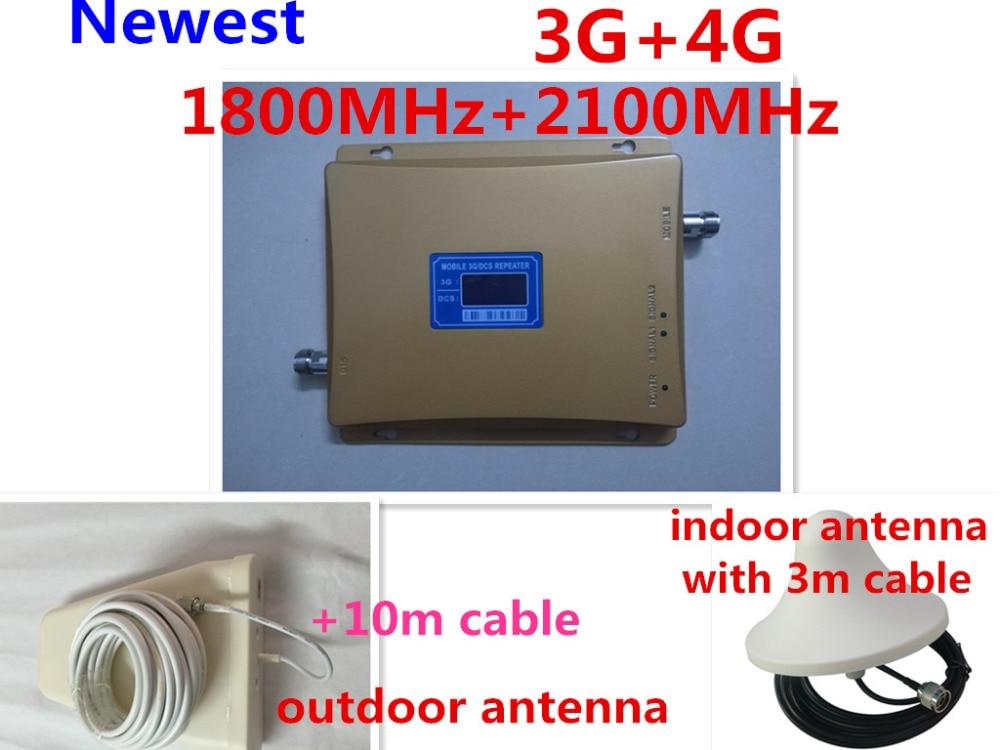 Gain 70dB GSM répéteur 2100 et 1800 amplificateur cellulaire double bande gsm 3G 4G WCDMA 2100 LTE 1800 répéteur de Signal Mobile écran lcd