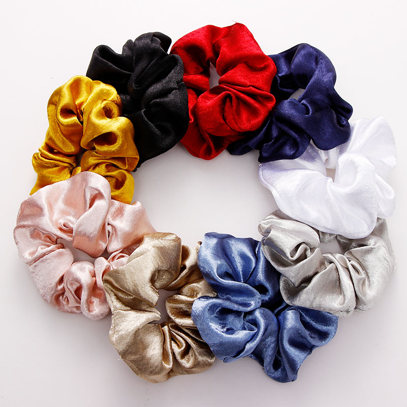 New Women Elegant Solid Silk Crude Elastic Hair Bands Ponytail Holder Tie Gum Scrunchie Rubber Bands Fashion Hair Accessories