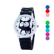 MEIBO Children's Watches Black Cats Design Rubber Silicone Watchband Quartz Wrist Watch Relogio Feminino Relojes