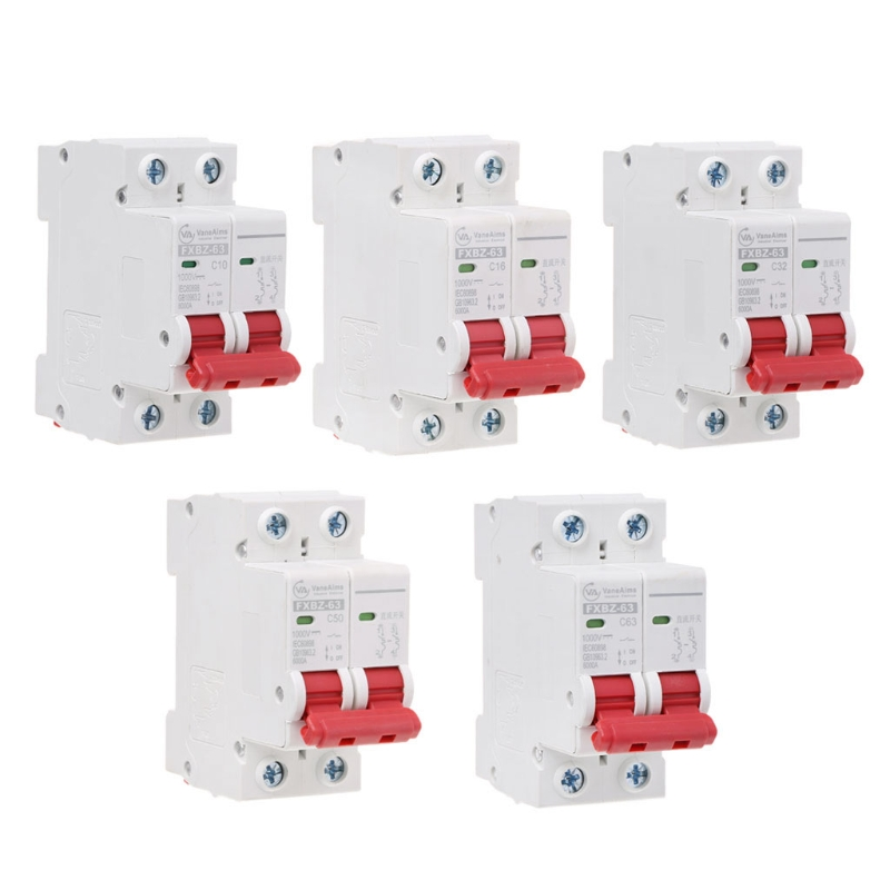 2P DC 1000V Solar Mini Circuit Breaker 10A/16A/32A/50A/63A DC Photovoltaic MCB 2p dc 500v solar mini circuit breaker 6a 10a 16a 20a 25a 32a 40a 50a 63a dc mcb mini circuit breakers