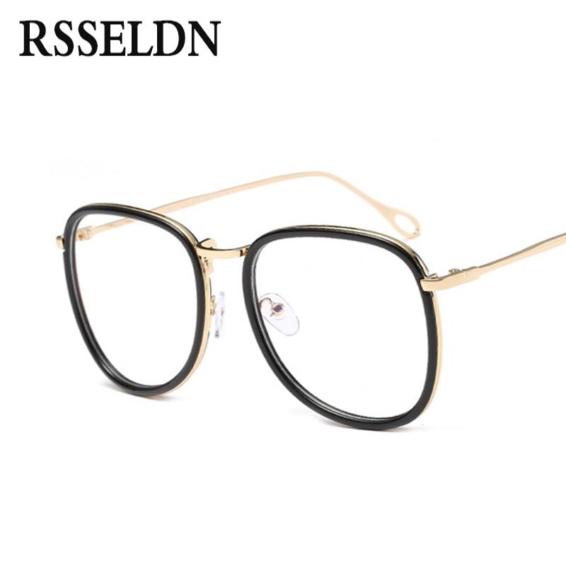 rsseldn new women big eyeglasses frames female classic brand designer glasses frame men clear lens trendy