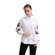 Dioufond женские вышитые футболка с цветочным принтом розы Вышивка рукава блузки женские повседневные белые топы с отложным воротником хлопковые рубашки