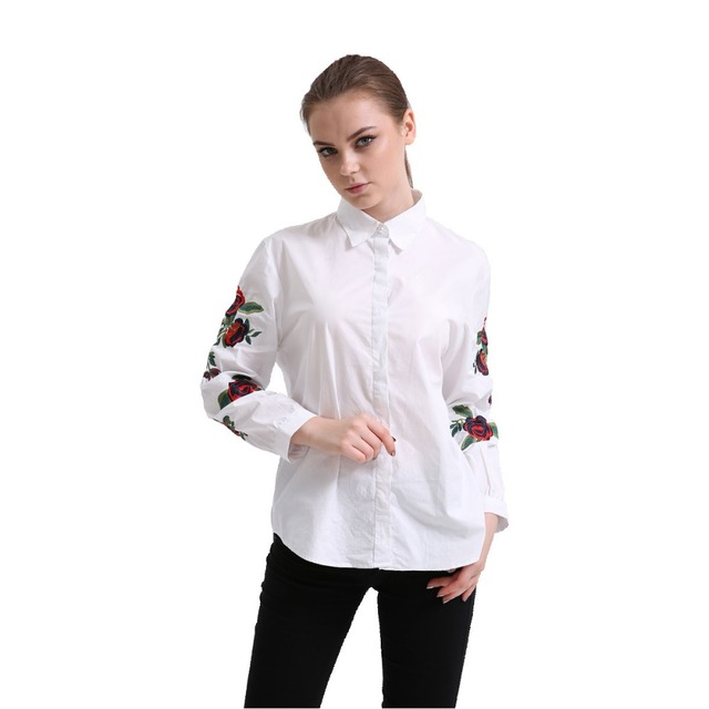 Dioufond Women Embroidered Floral Shirt Rose Embroidery Sleeve Blouse Ladies Casual White Tops Turn Down Collar Cotton Shirts