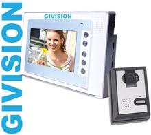 7 pulgadas LCD video puerta timbre del teléfono de intercomunicación casa sistema de seguridad del timbre timbre de la puerta de apertura de la cámara de INFRARROJOS de visión nocturna