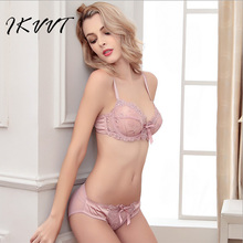 Hot Selling 2017 Comfortable Large Size Ultra-Thin Underwear Lace Sexy Non-adjusted Bra  Net  All-Transparent Embroidery Bra Set