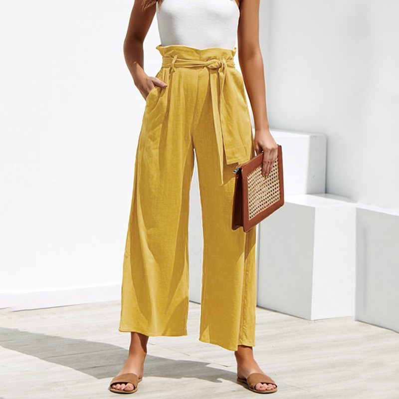 2019 Women's Casual Loose Solid High Waist Ankle-Length   Wide     Leg     Pants