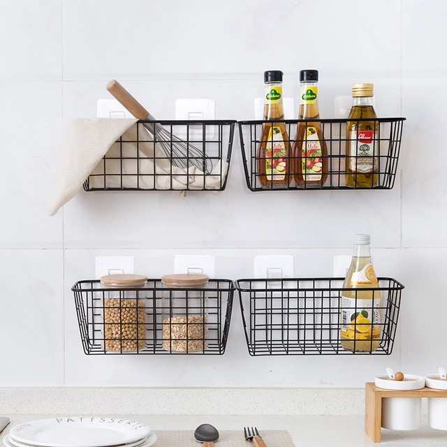 Kitchen Seasoning Hanging Basket Desktop Storage Basket Bathroom Rectangular Storage Box Wall