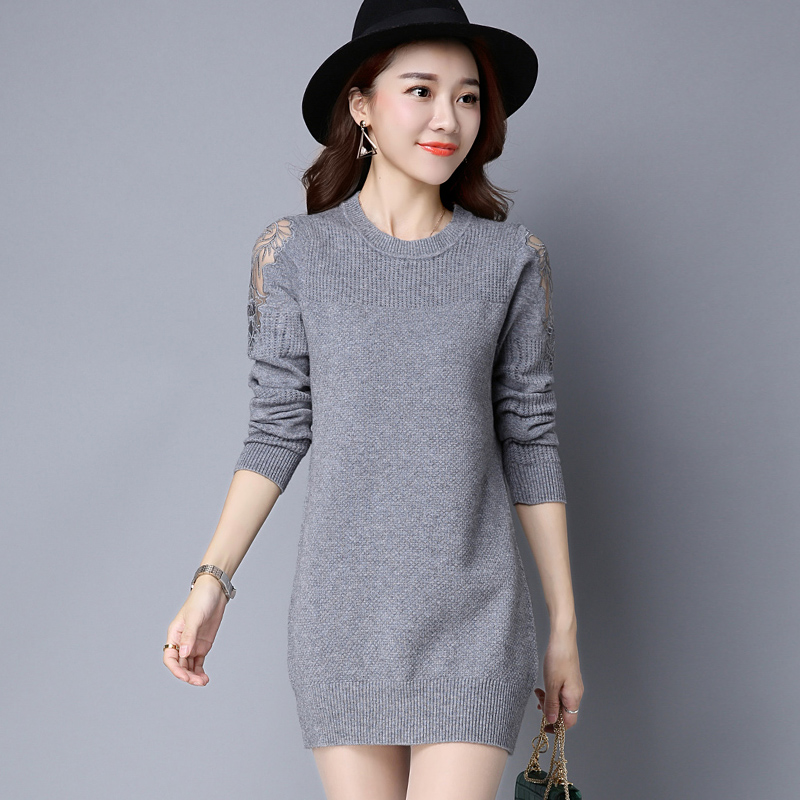 2016 European round neck Pullovers Patchwork Lace Skirt Elastic Long Knitted Sweater Dress Multicolors Sweaters Knitwear