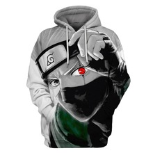 Autumn Winter Thin Stylish 3D Sweatshirts Men/Women Hoodies With Hat Print  Naruto Hatake Kakashi Hooded Hoodies Tops US Size