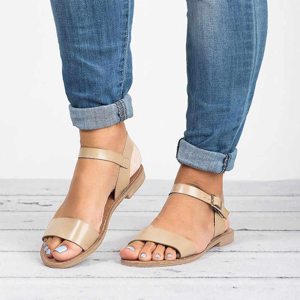 2019 קיץ נשים גבירותיי רומא שטוח מוצק ציוץ הבוהן סנדלים מקרית נעליים חיצוני בריטי רוח שטוח העקב אבזם רצועה מכירה לוהטת