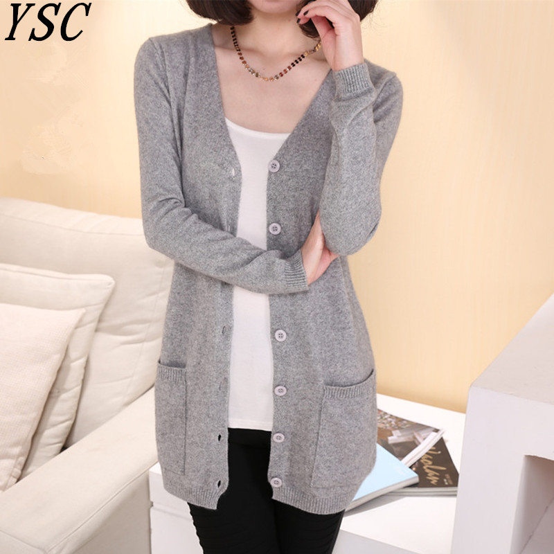 YUNSHUCLOSET Lady Wool Sweater Fashion Medium Long Cashmere Cardigan Women Loose Sweater For Female Outerwear Coat With Pockets