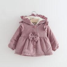 58a34359140 Infant Girls Hooded Jacket Coat Winter Kid Corduroy Windbreaker for Girl  Plus Thicken Velvet Outerwear Children Princess Clothes