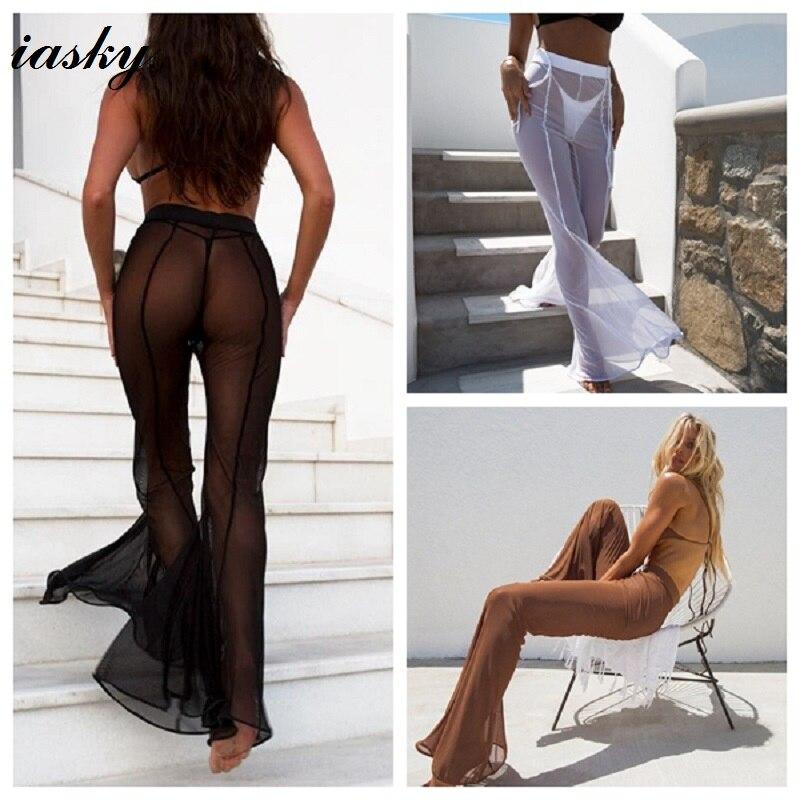 IASKY sexy durchsichtig Bikini Vertuschen Frauen badeanzug bademode Badeanzug-vertuschungen mesh Strand Hosen 2018 Neue