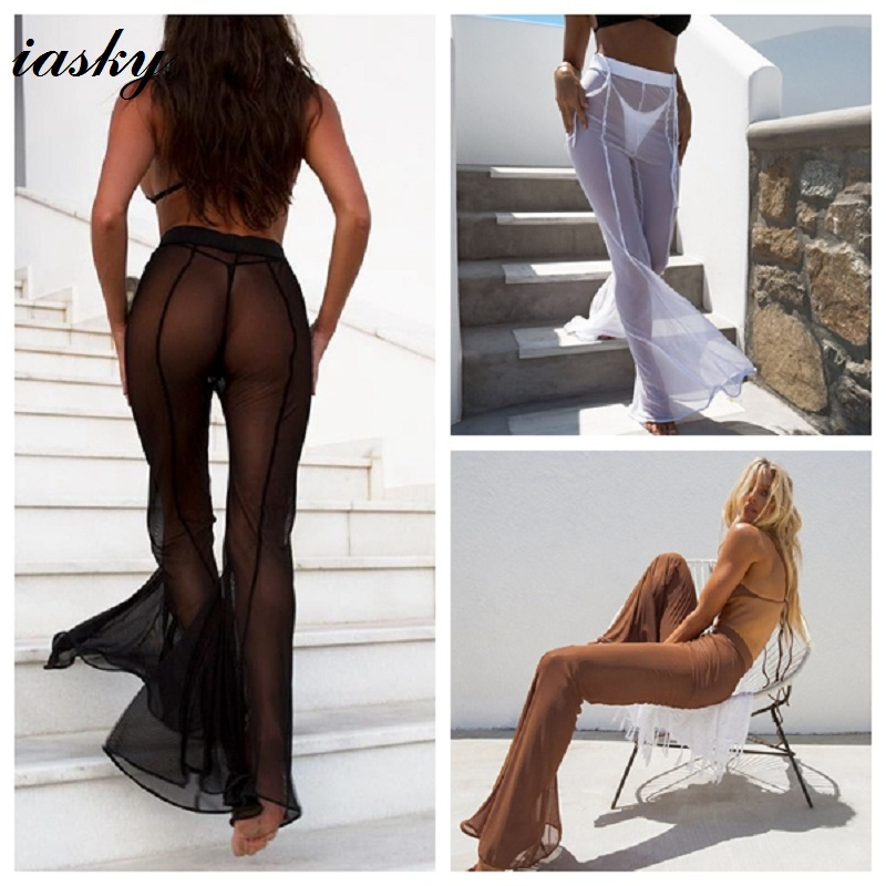 IASKY Sexy See Through Bikini Cover Up Women Swimsuit Swimwear Bathing Suit Cover Ups Mesh Beach Pants 2018 New
