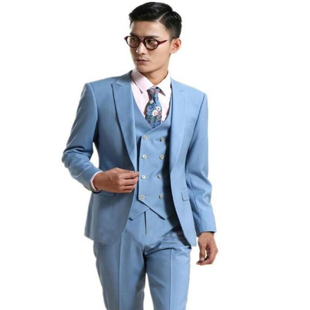 d9d445bccc Latest Style men suit Bule One Button Peaked Lapel Slim(Jacket+Pant+vest)  Quality Fashion Bespoke