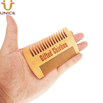 100pcs/lot OEM Fine & Coarse Tooth Dual Sided Wood Combs Customized LOGO Wooden Hair Comb Double Sides Beard Comb for Men